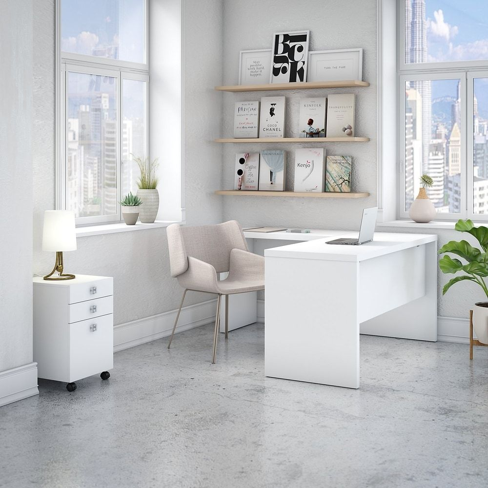 Echo L Desk With Mobile File Cabinet From Office By Kathy