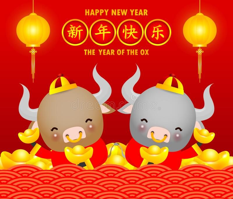 Happy Chinese New Year 2021 Greeting Card Cute Little Cow Holding Chinese Gold Sponsored Chinese New Year Greeting Chinese New Year Chinese New Year Card