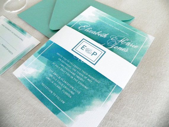 watercolor aqua blue and turquoise invitation suite for beach and