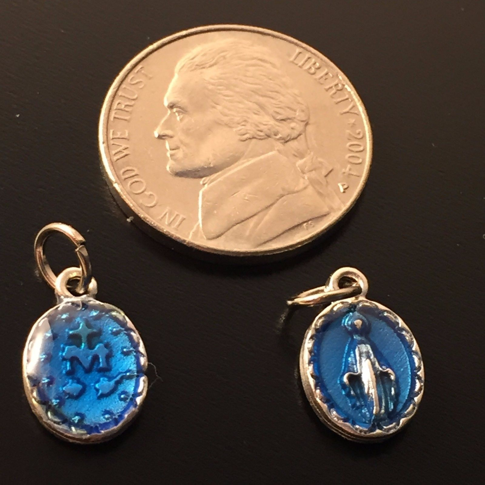 370c1c6d2 Beautiful Our B.V. Mary Miraculous Medals. 2x Nice and detailed medals -  Tiny medals to hang to your favorite rosary.