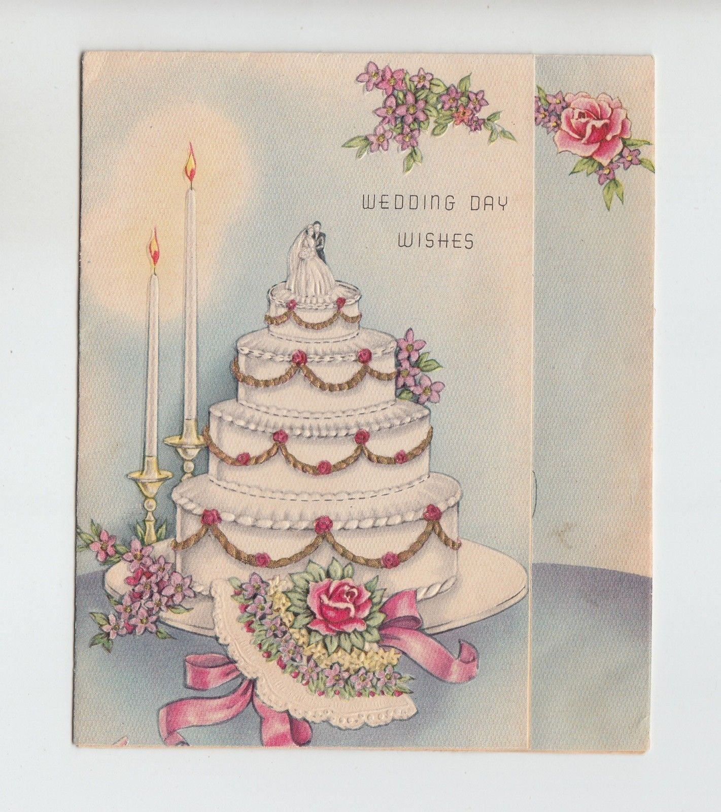 Vintage Wedding Cake With Bouquet Greeting Card Ebay Vintage