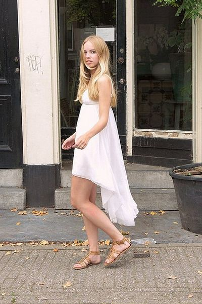 Discover This Look Wearing White GINA TRICOT Dresses Brown River Island Sandals
