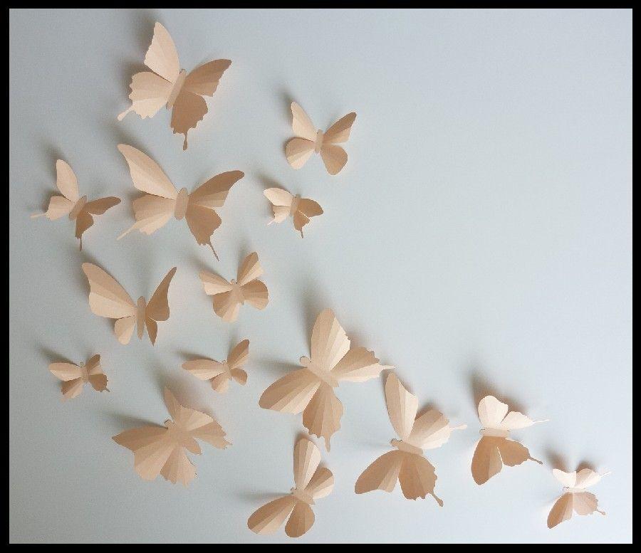 3d Wall Butterflies 15 Light Peach Butterfly Silhouettes Nursery Home Decor Wedding