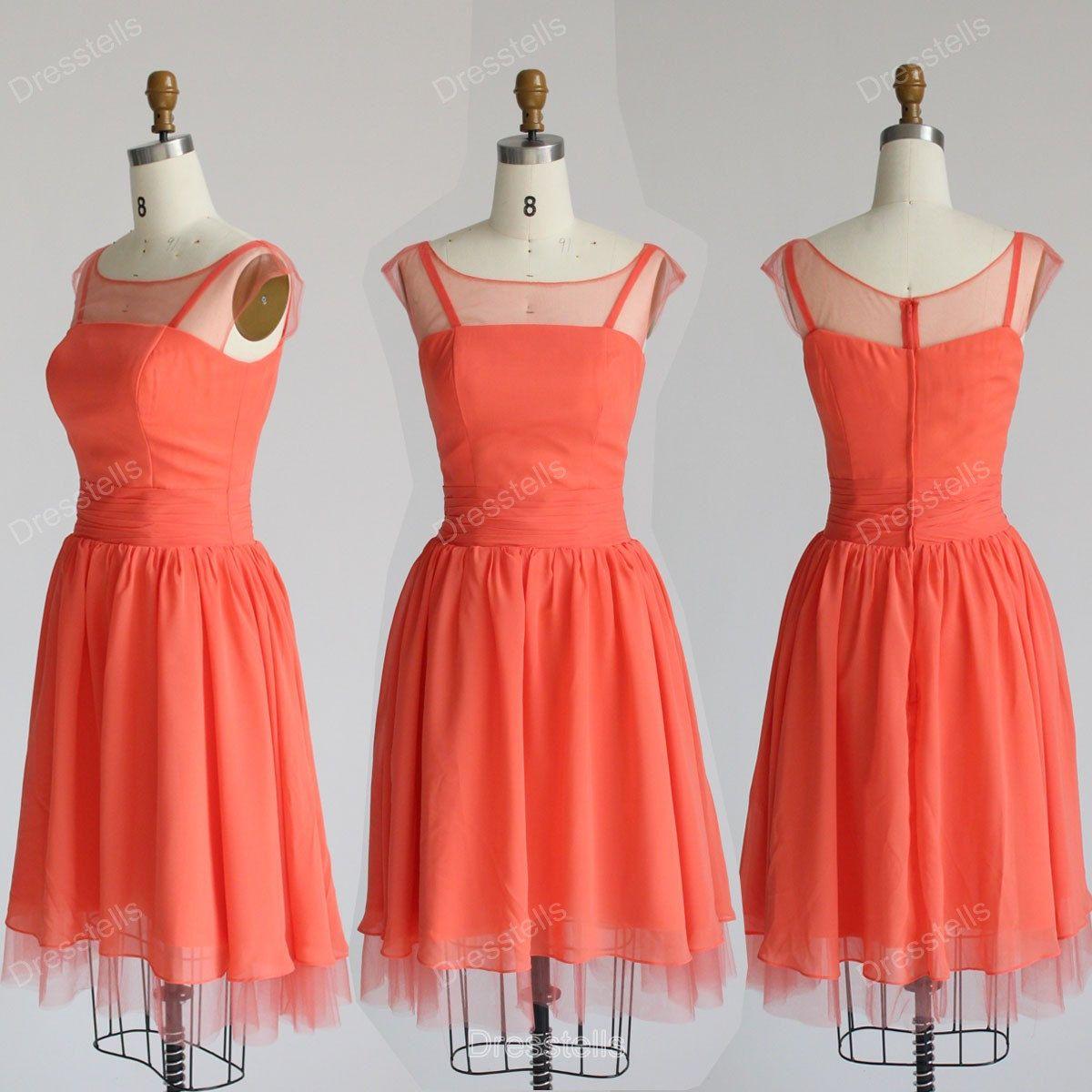 Bridesmaid dresses coral bridesmaid dress short by dresstells