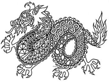 black white detailed dragon coloring sheet 2012 chinese