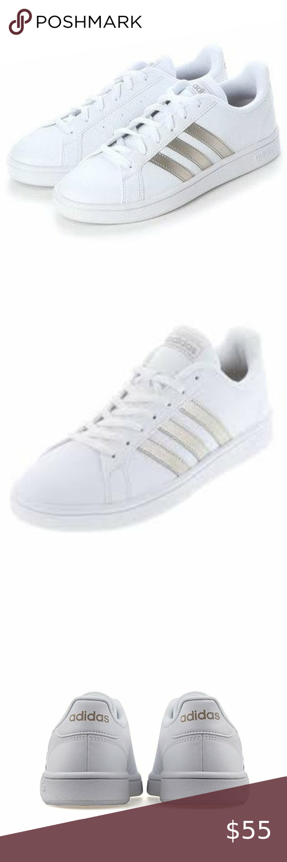 Adidas Grand Court Base White Tennis Shoes Nwob In 2020 White Tennis Shoes Tennis Shoes Womens Tennis Shoes