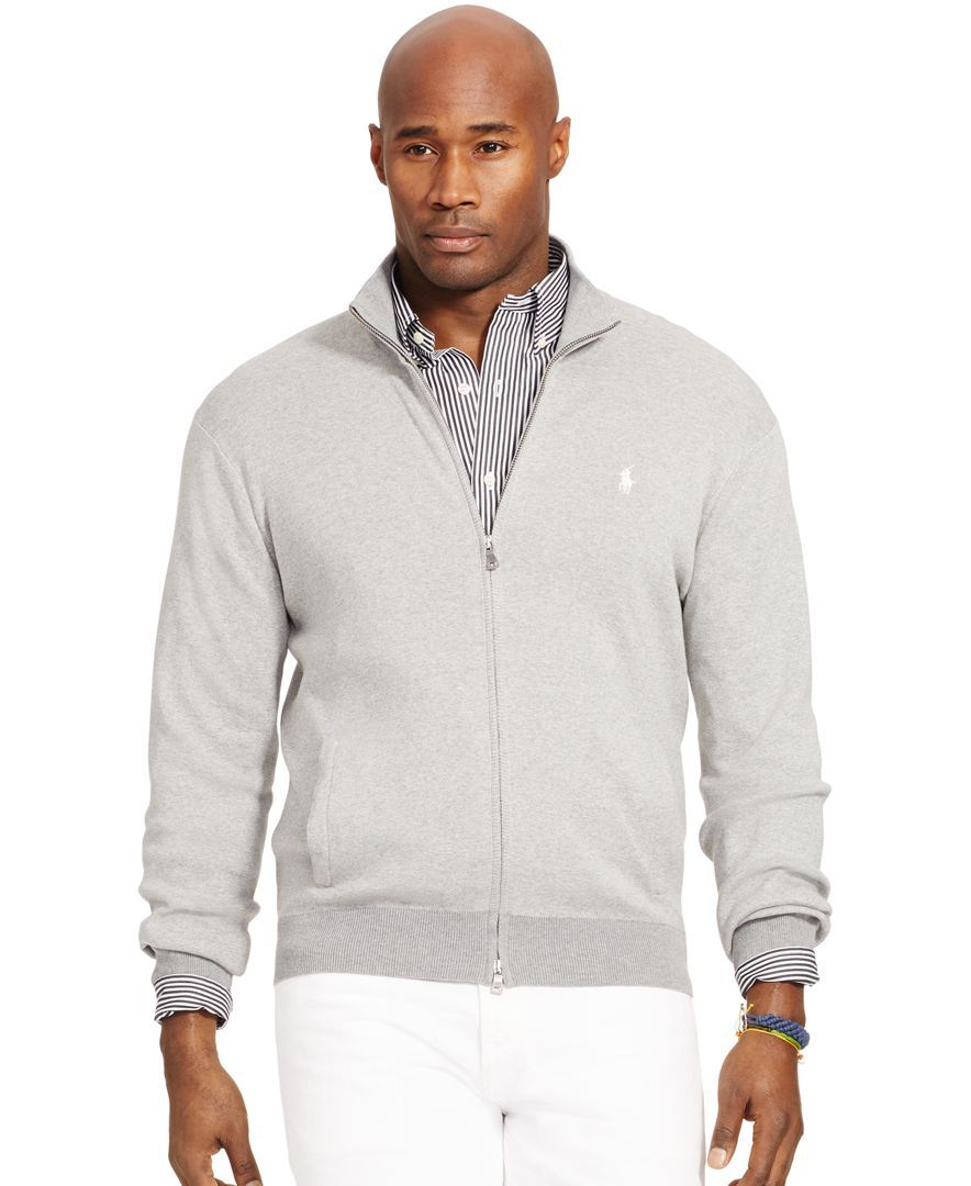 bd2e5389dacdfe Polo Ralph Lauren Big and Tall Full-Zip Pima Sweater | Sweatpants ...