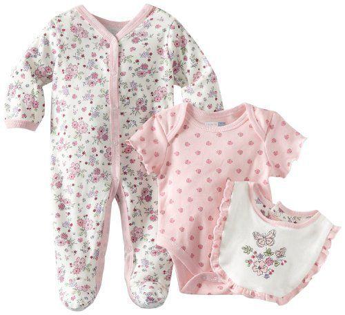 cef6157350ec Vitamins Baby Baby-girls Newborn Butterflies and Flowers 3 Piece ...