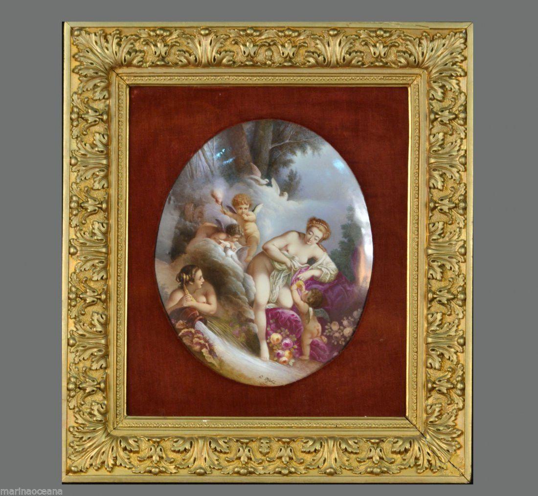 Lot 079 S59 - Antique German Cölln-Meissen oval porcelain plaque - Est. $4000-5000 - Antique Reader