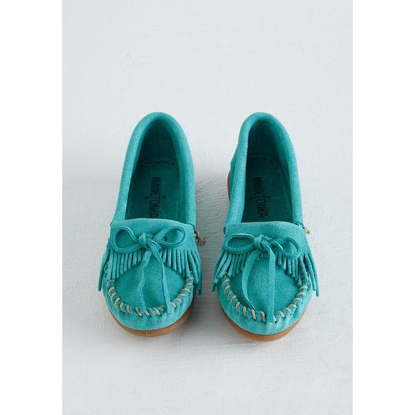 Boho Fundamental Footwork Flat ($31) ❤ liked on Polyvore featuring shoes, flats, blue suede shoes, blue flats, minnetonka shoes, slip on flats and fringe moccasins