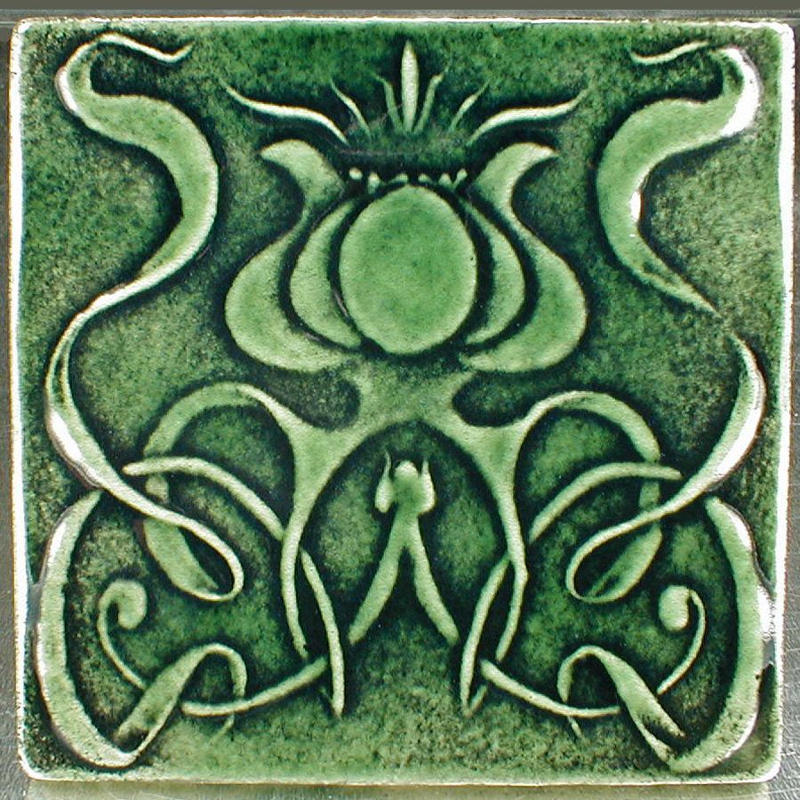 Art nouveau tile flower tile 6 18 x 6 18 green ceramic art these come with a notch on back for hanging on a wall or use it as an accent tile in your installation non vitreous wall tile please use tcna guidelines dailygadgetfo Choice Image