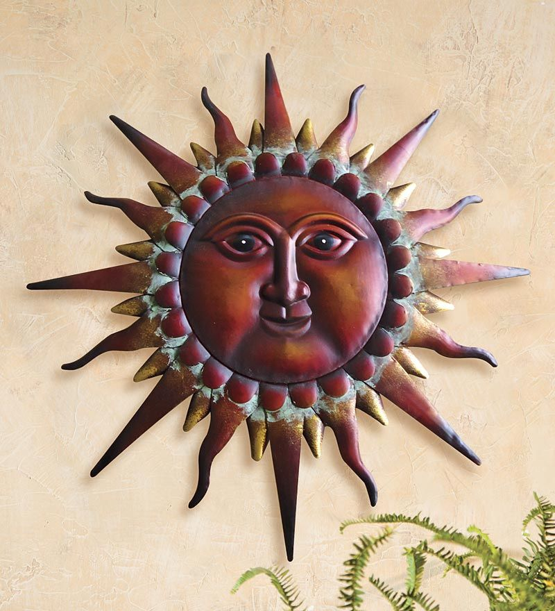 Wise Sun Face Metal Art Metal Wall Art Wind Weather With