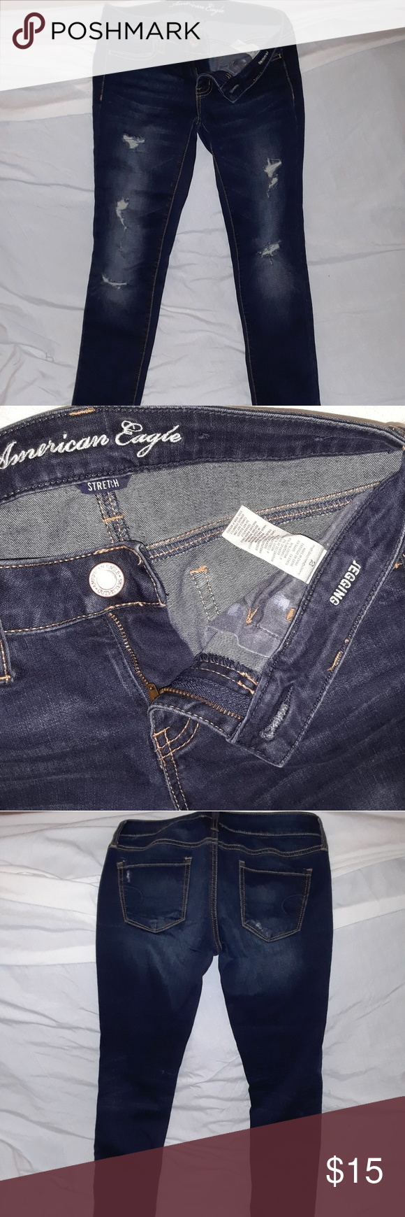 American Eagle jeggings Hardly worn American Eagle jeggings.  Dark denim. American Eagle Outfitters Jeans Skinny