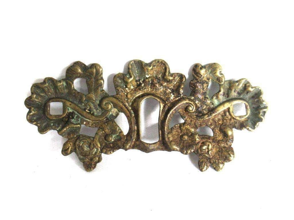 Antique Brass Keyhole cover escutcheon Shabby distressed keyhole