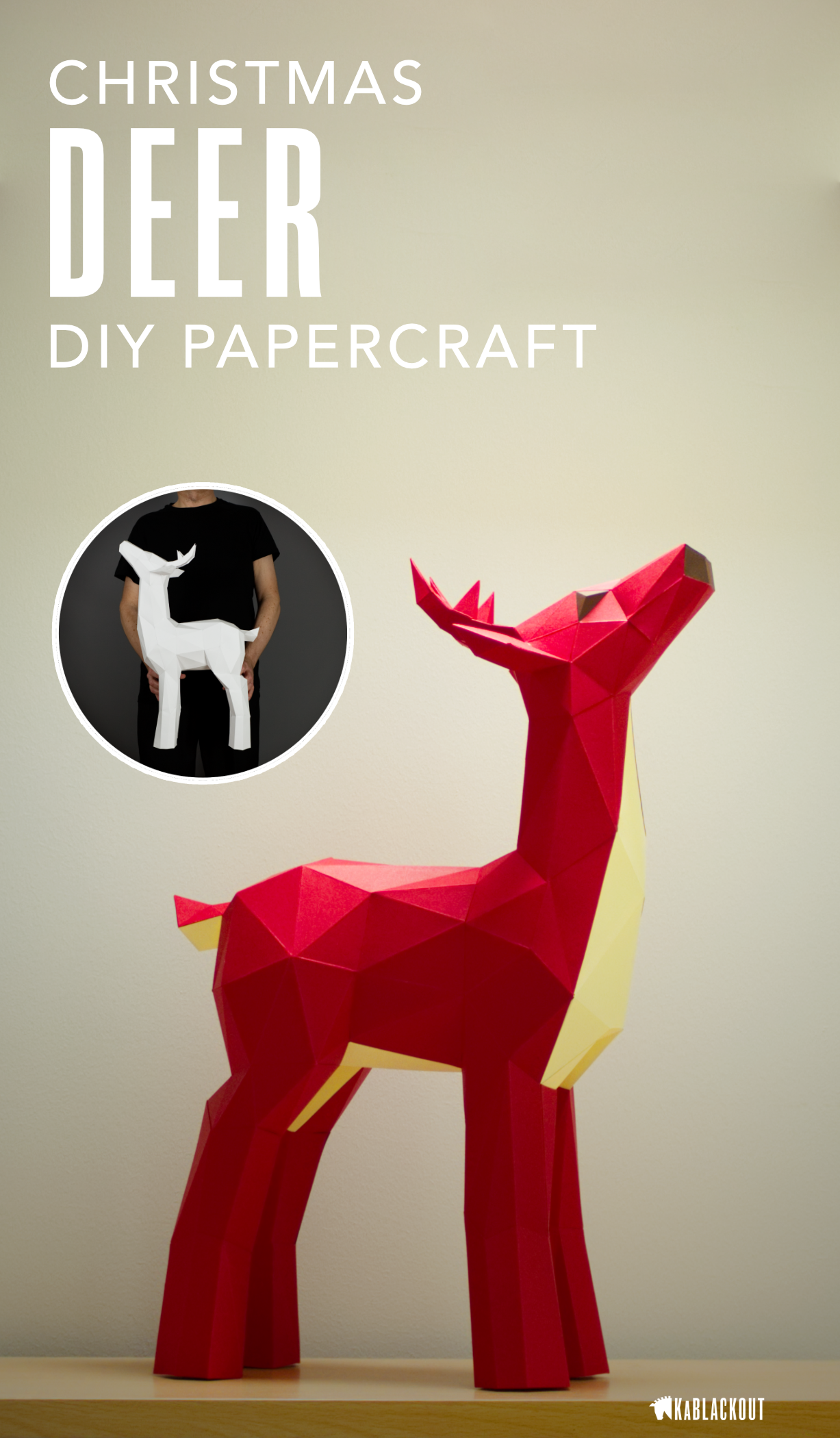 Deer Papercraft , Papercraft Deer, DIY Deer, Low Poly Deer, Deer ...