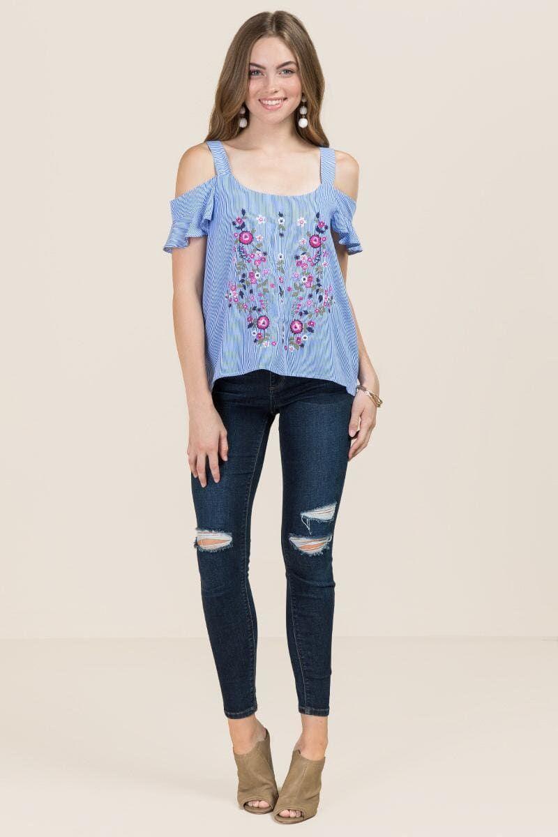 963375f3e20f7 Frances Embroidered Striped Cold Shoulder Top