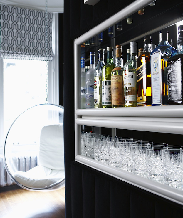 philip gorrivan design: amazing living room bar with black velvet
