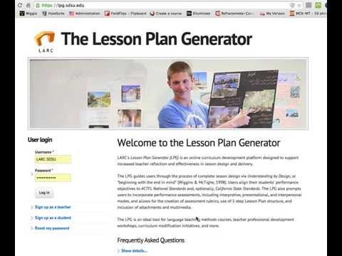 Welcome to the Lesson Plan Generator The Lesson Plan Generator