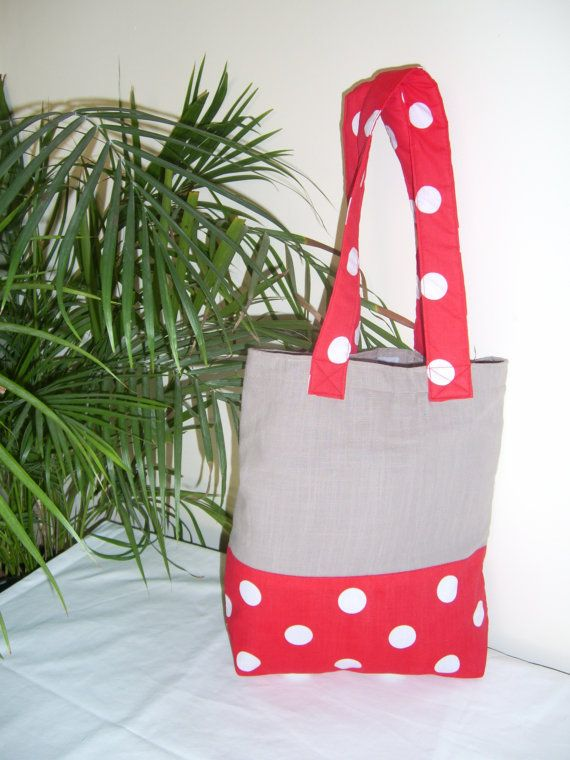 Tote Bag Handmade Beige and red and white dots by joyzzs on Etsy.com/shop/joyzzs. Also facebook.com/joyzzsgifts