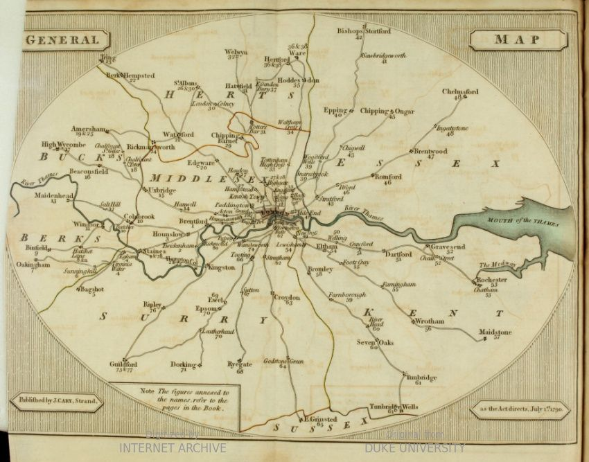 General Map CARY S SURVEY OF THE HIGH ROADS FROM LONDON 1790