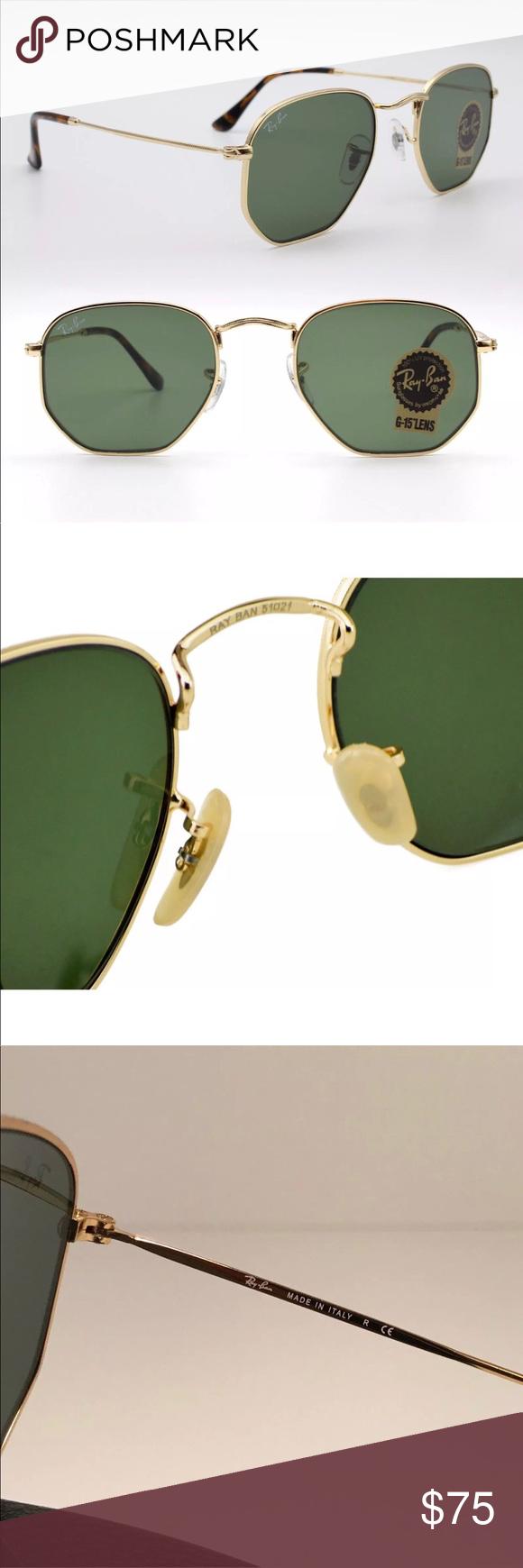 ec2437421a778 Ray-Ban hexagonal sunglasses green lens gold frame Ray-Ban Hexagonal  Sunglasses Classic Green G-15 Lens 51mm   Gold RB3548N 001 New Ray-Ban  Hexagonal flat ...