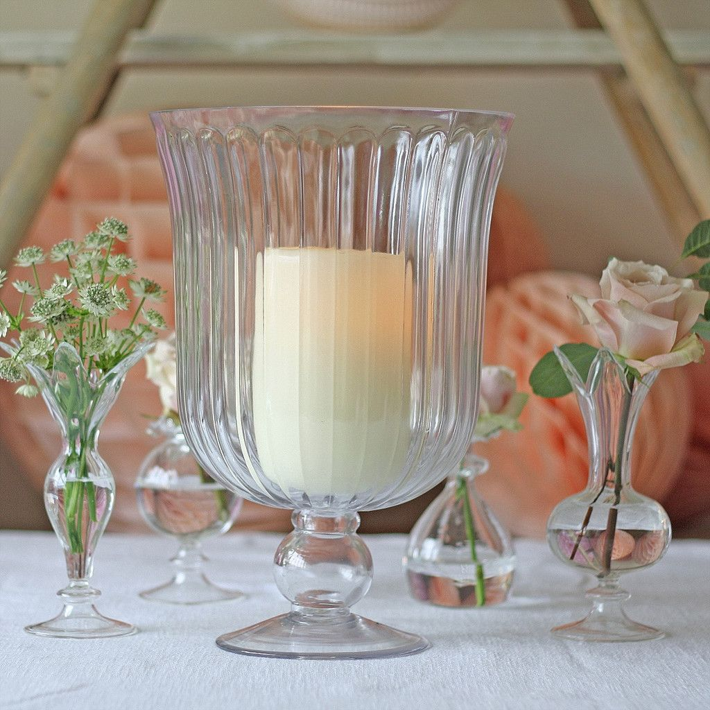 Clear Glass Footed Vase Or Hurricane Lantern - available from www.theweddingofmydreams.co.uk