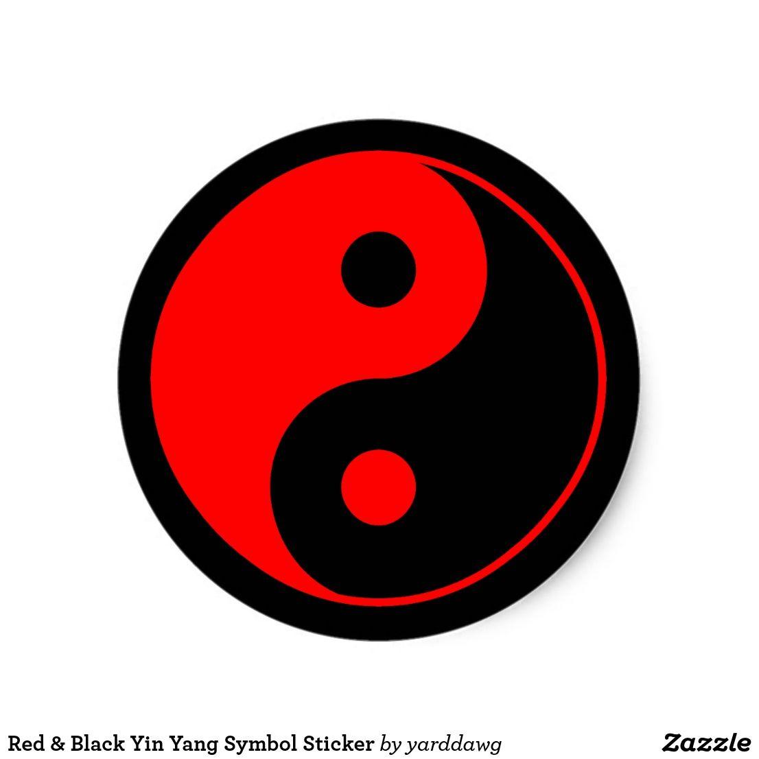 Red Black Yin Yang Symbol Sticker Zazzle Com In 2021 Black And Red Symbols Yin Yang