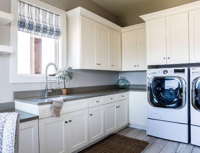 Laundry Room White Laundry Room With Grey Quartz Countertop Grey