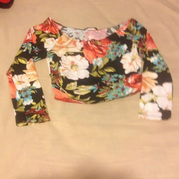 NWOT Crop Top NWOT Floral Pattern Crop Top. Bought new from Rainbow. Size Medium but fits Small. Tops Crop Tops