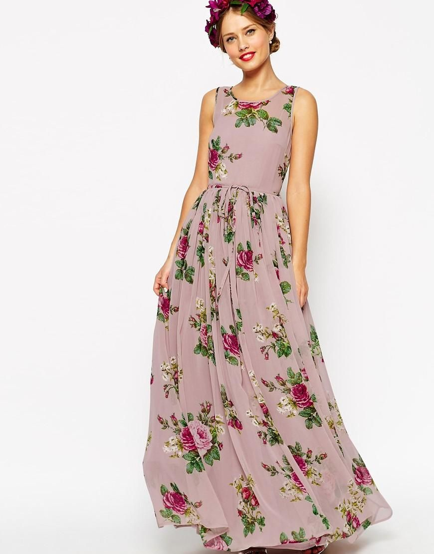 Asos asos wedding lilac floral super full maxi dress at asos