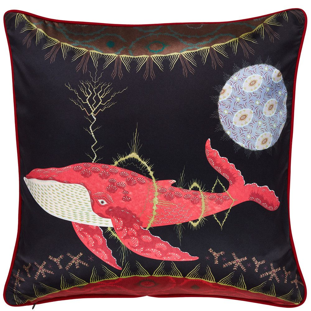 Cosmic Whale Cushion With Lilac Planet подушки вышивка