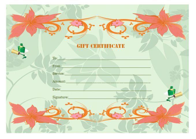 Manicure Gift Certificate Template Manicure Gift Certificate