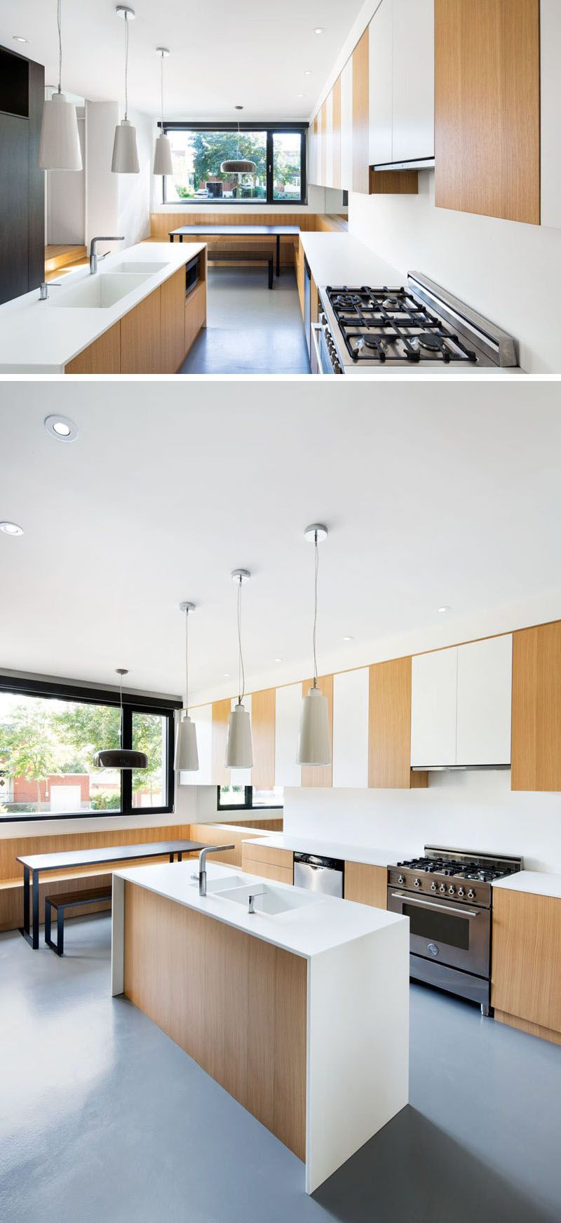 Kitchen Design Idea - Seamless Kitchen Sinks Integrated Into The Countertop // This kitchen island has two sinks that are both made from the same material as the countertop, with no seams between them.