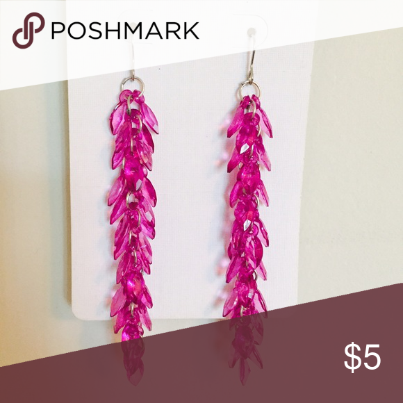 Magenta Long Leaf Earrings Magenta - Plum colored long dangling earrings with a leaf effect. Two in stock. Other colors also available. Jewelry Earrings