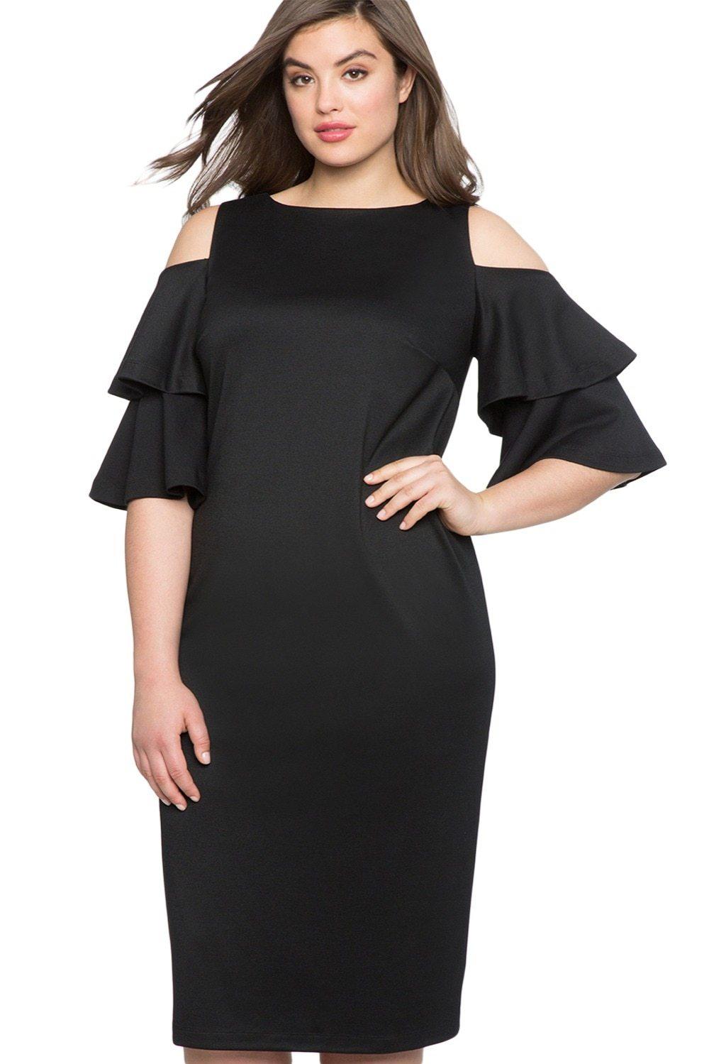 1ebcf0a37cd Plus Size Flounce Half Sleeve Cold Shoulder Midi Dress in 2019 ...