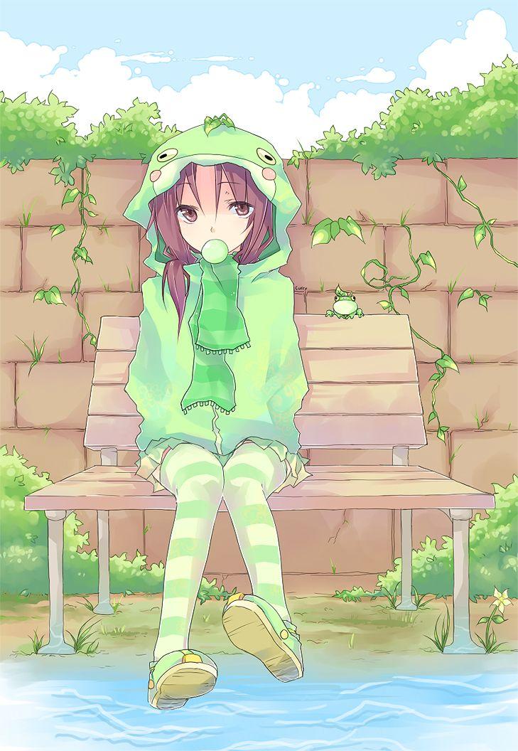 Wallpapers girl, rain, frog, smile, anime, water, cute, frogs. Frog Girl by Curryuku.deviantart.com on @DeviantArt   Art, Frog, Baby frog