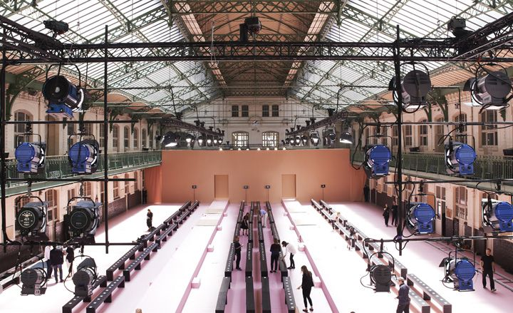 Paul Smith Pink was the hue of the season for Paul Smith, appearing in every shade on his finely-tailored collection. The Halle Freyssinet also glowed pink for the occasion, with a bright candy-coloured catwalk and a more muted rose shade for the walls.