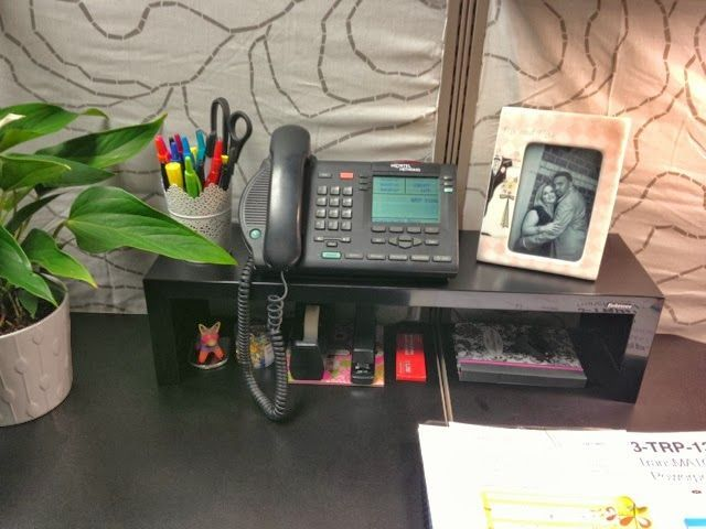 Cubicle Organization Idea: Use A Shelf To Maximize The Vertical Space On  Your Office Desk