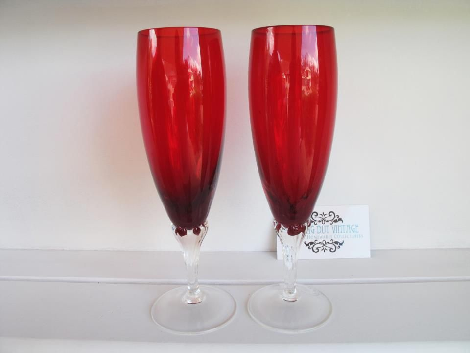 Sold - more vintage finds updated daily. Set of 2 tall red stem glasses, excellent condition... pinned with Pinvolve