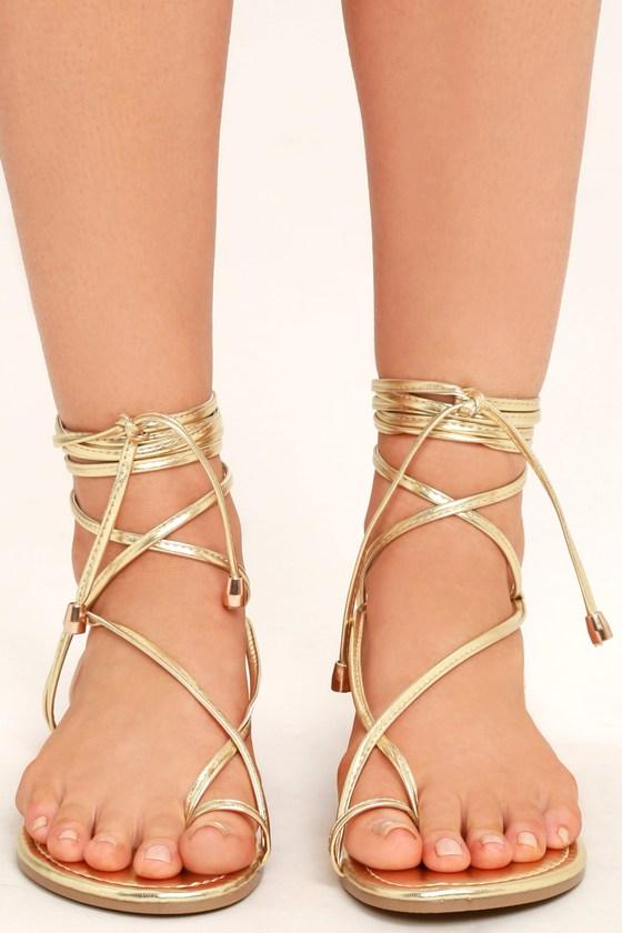 Micah Light Gold Lace-Up Flat Sandals