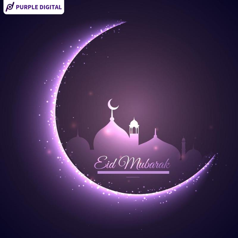 Eid Mubarak Purple Digital Eid Mubarak Greetings Eid Al Fitr Eid Mubarak Wallpaper