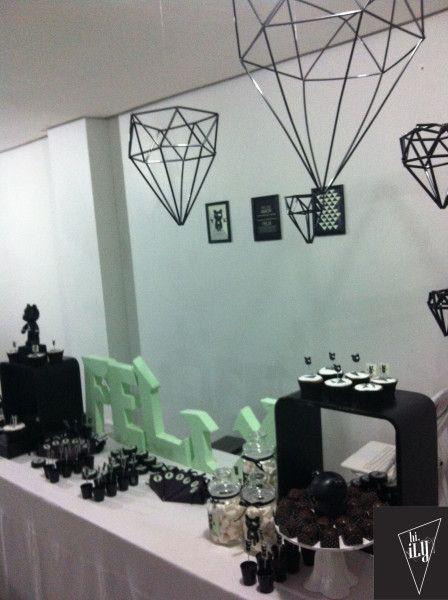 Design  partydesign Babyshower  chádefraldas Babyrock rock partyrock party  decor  decoration chadebebe diamonds diamantes festa