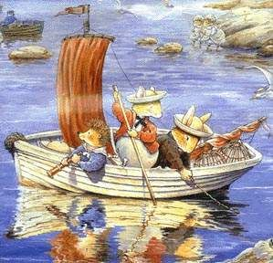 Summer Sailing from Foxwood Tales by Cynthia and Brian Patterson. This is my favourite Foxwood Tales illustration. The reflections are awesome.
