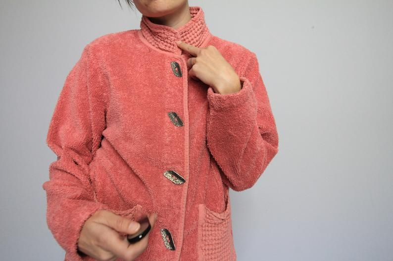 Photo of 90's Salmon Terry Cloth Mandarin Collar Jacket