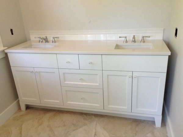 Freestanding Vanity. Could Go In The Alcove Without Being Truly Wall To Wall