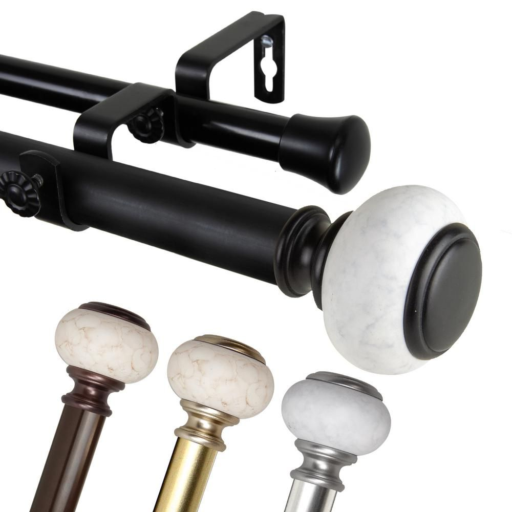 Emoh 1 Inch Dia 160 240 Adjustable Piedra Double Curtain Rod In