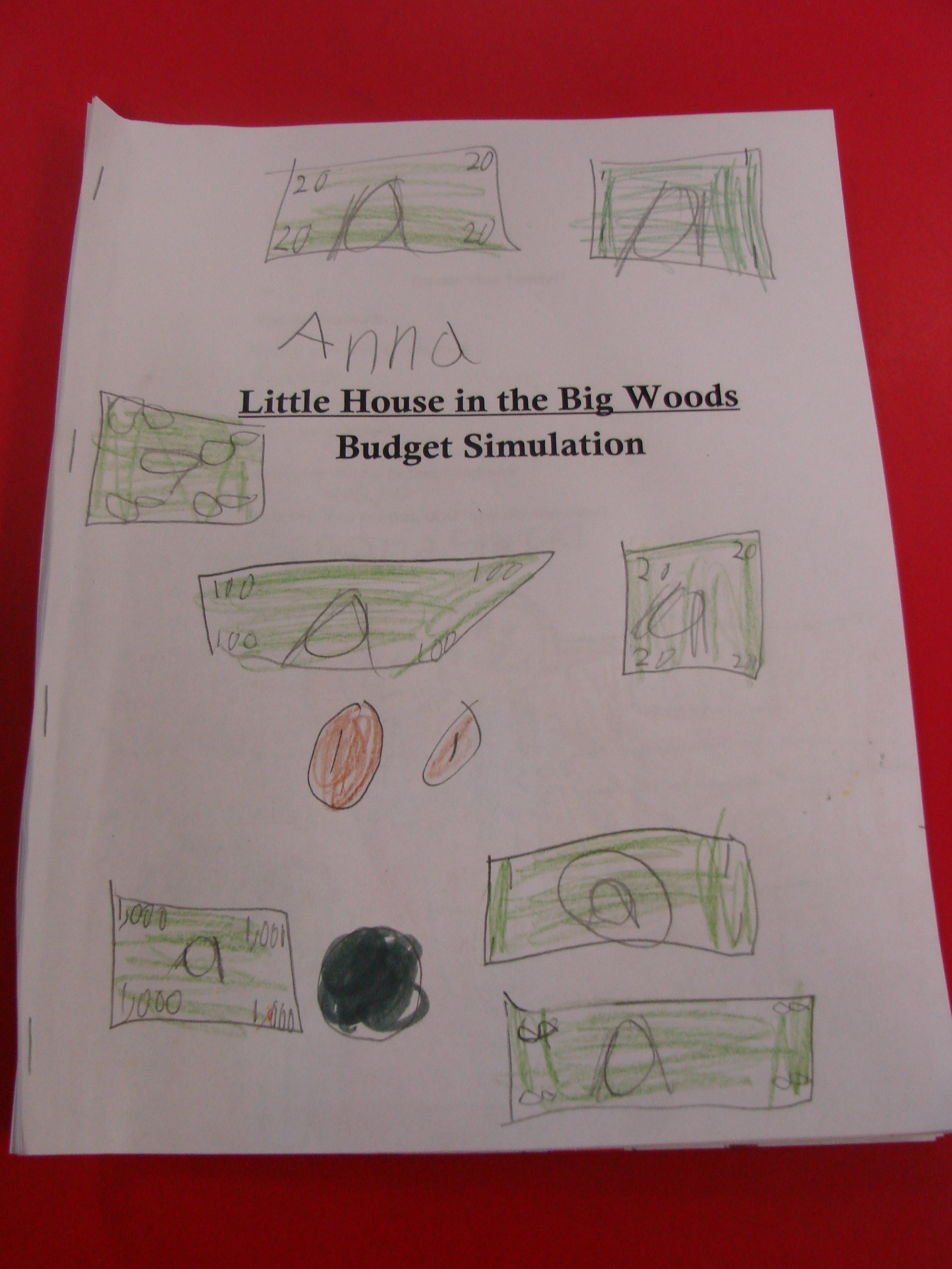 2nd Grade Little House In The Big Woods Budget Simulation