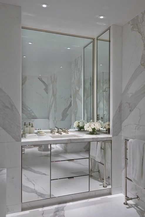Mirrored Console Floor To Ceiling Marble Slab The
