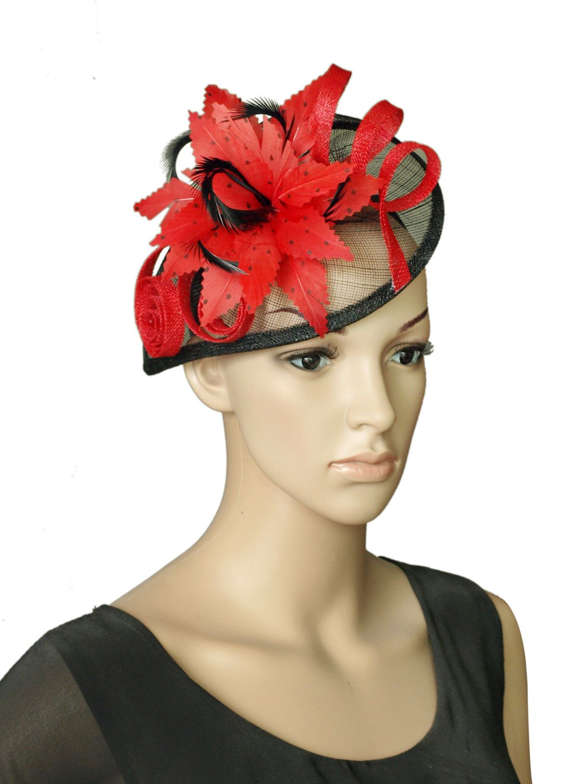 a9e35f8cbabd9 Red Black Sinamay Wedding Fascinator Hats Corsage Flower Feather Hair Band  Headband