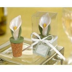 Elegant Calla Lily Bottle Stopper In Planter Gift Box Wedding Favour